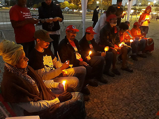 Activists staging hunger strike during interreligious ceremony outside the Supreme Court building in Brasília