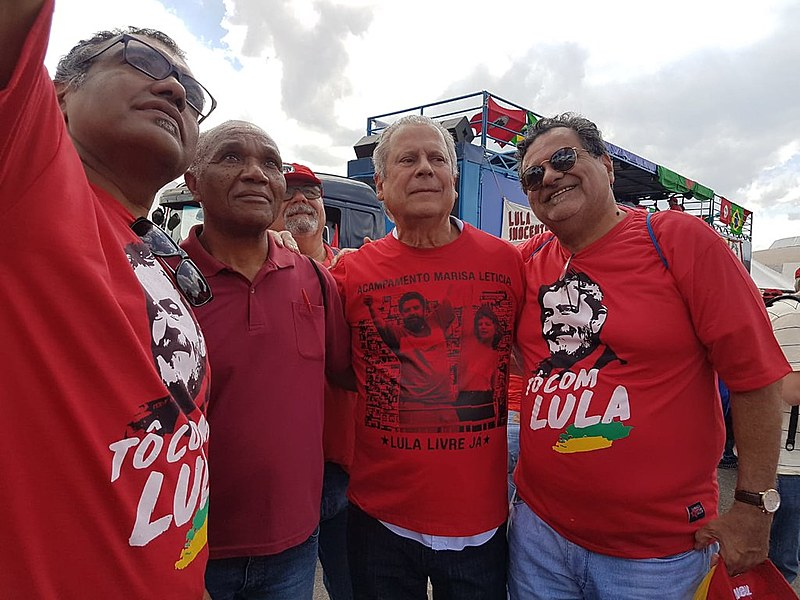 Zé Dirceu na concentração do ato que protocolará a candidatura de Lula em Brasília