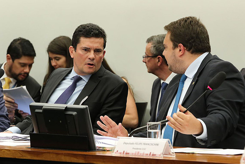 Ex-juiz e ministro da Justiça e Segurança Pública, Sergio Moro, participa de sabatina na Câmara dos Deputados
