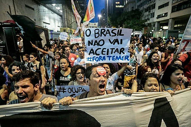 Protesters demonstrate against Temer measures in downtown Rio de Janeiro in 2016