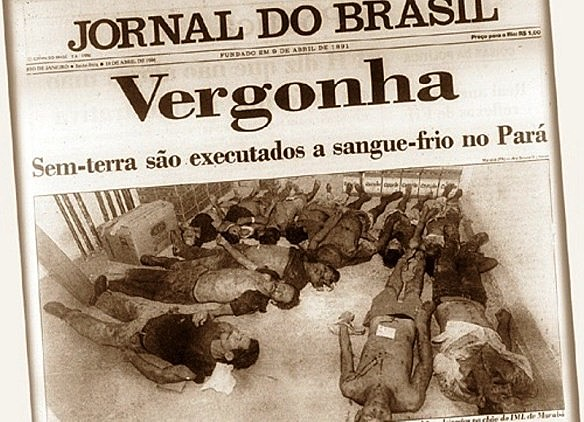 Imagens do assassinato de 21 sem terra pela polícia militar em Eldorado dos Carajás/PA foram destaque na imprensa brasileira e mundial.