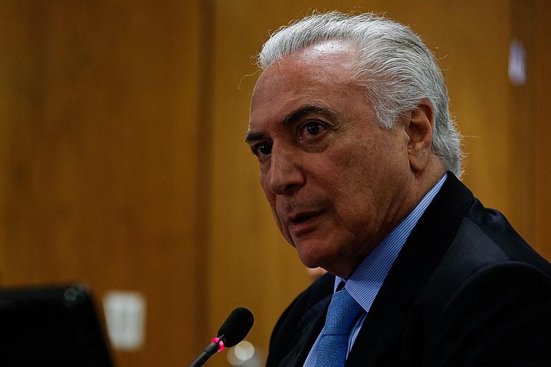 Presidente Michel Temer em reunião em Brasília