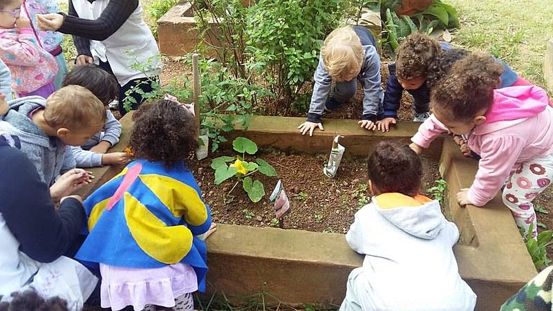 Alunos do CEU Heliópolis trabalham na horta comunitária Imira CI