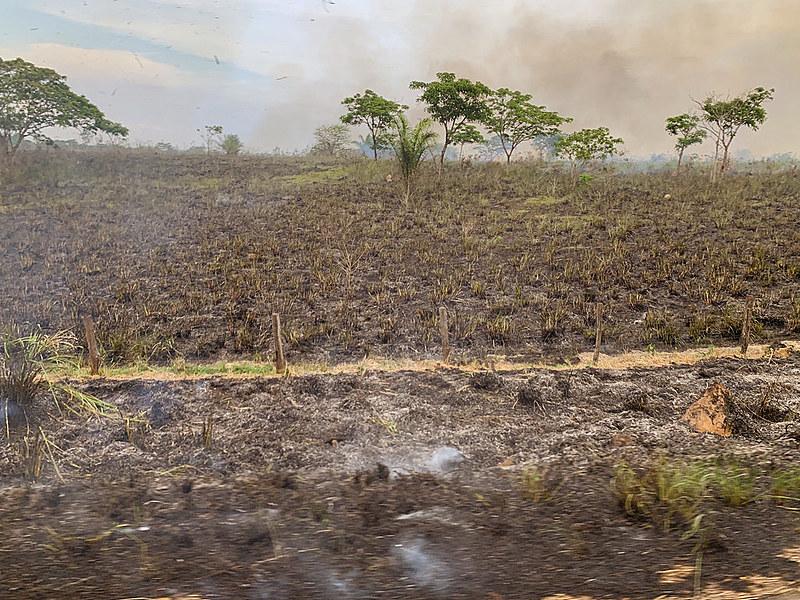 Queimada registrada em 26 de outubro na BR-155, em Eldorado do Carajás, no Pará; rodovia vai de Marabá a Redenção