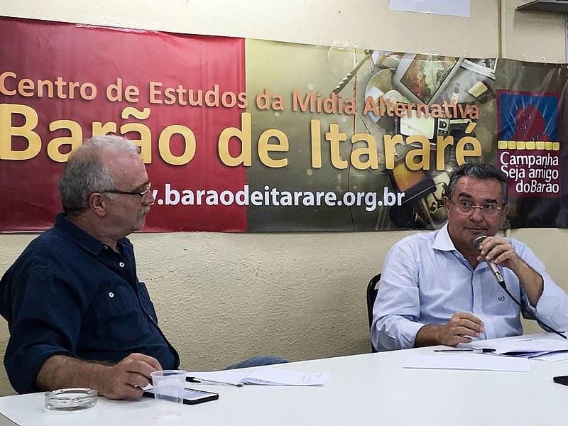 Jair Ferreira participou de coletiva de imprensa no Centro de Mídia Alternativa Barão de Itararé