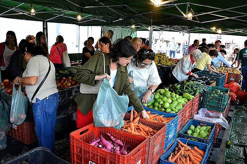 A cada semana, a Feira da Praça 19 de Dezembro, no Centro de Curitiba, recebe cerca de mil pessoas e vende em média 10 mil quilos de hortifruti