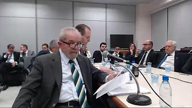 O ex-presidente Luis Inácio Lula da Silva durante o depoimento ao juiz Sérgio Moro, nessa quarta-feira