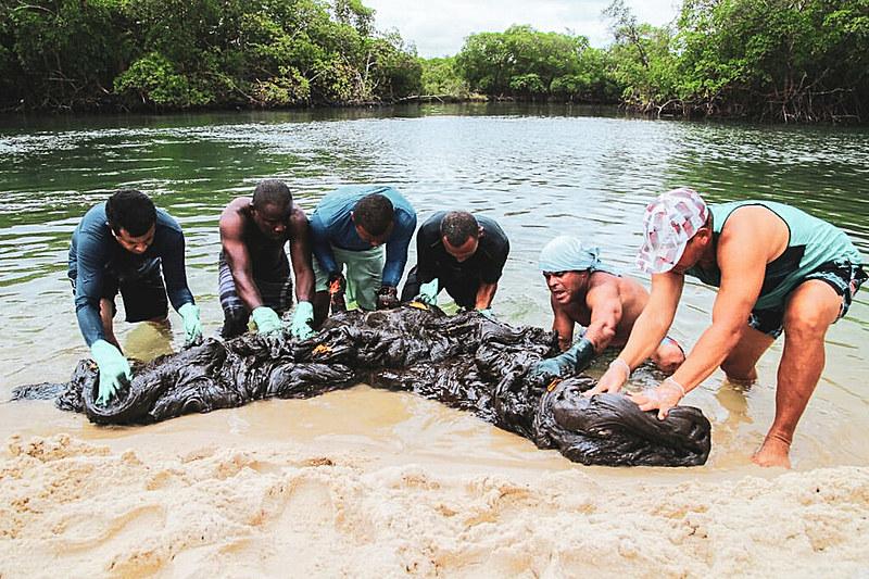 Vazamento foi detectado em 30 de agosto, na Paraíba, e se alastrou pelo Nordeste; Na foto, um mutirão limpeza da praia do Suape (PE)