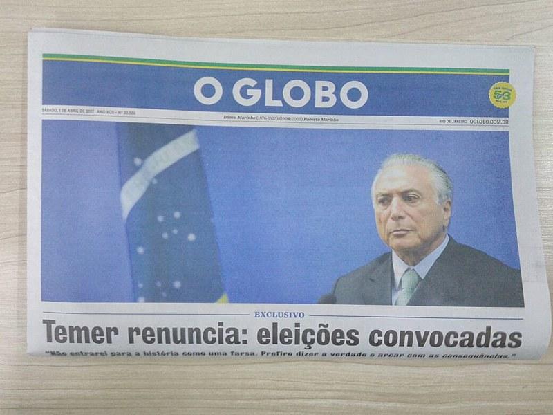 Capa do jornal O Globo que circula pela cidade de São Paulo