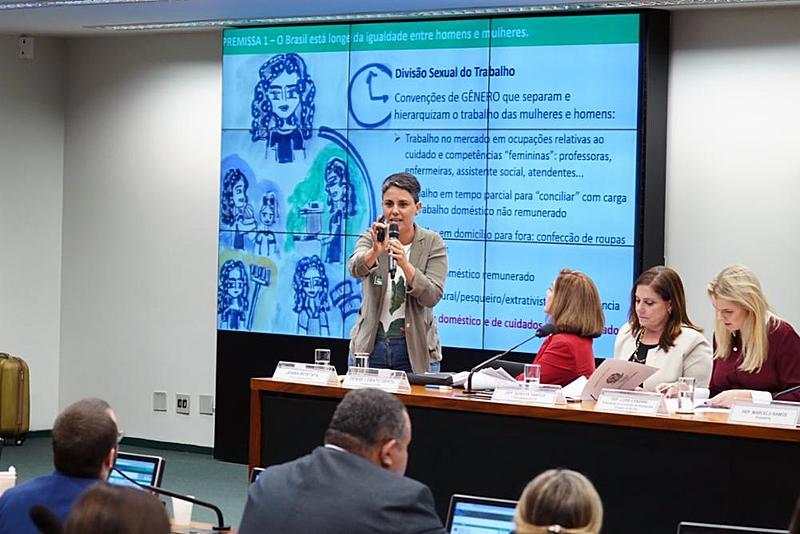 A pesquisadora Joana Mostafá durante a audiência