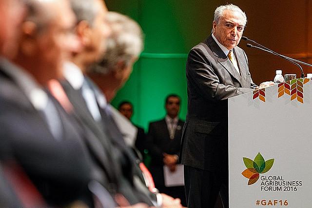 El presidente interino Michel Temer (PMDB) durante el encuentro mundial del agronegócio