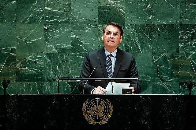 Bolsonaro durante o discurso de abertura na Assembleia Geral da ONU, na última terça-feira (24)