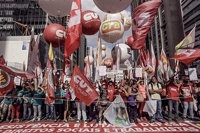 Ato das centrais sindicais no 1º de Maio em São Paulo (SP)