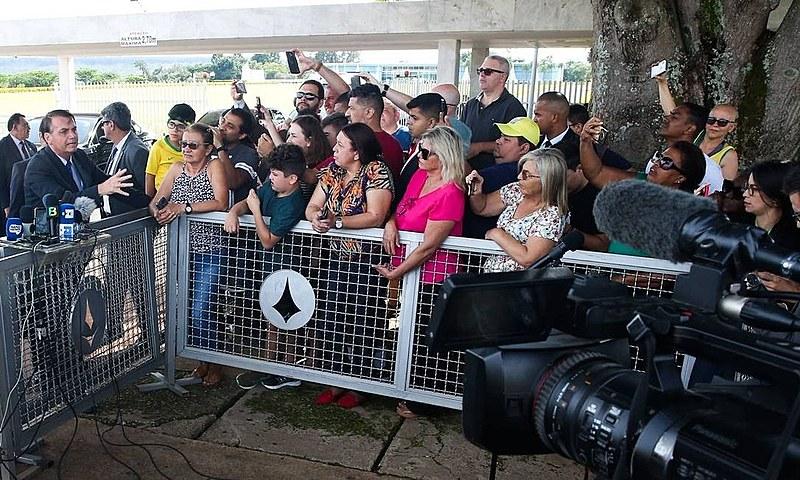 Jair Bolsonaro durante coletiva de imprensa em Brasília (DF)
