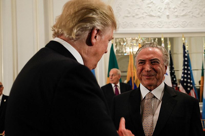 Donald Trump e Temer em jantar de trabalho oferecido pelo presidente dos Estados Unidos