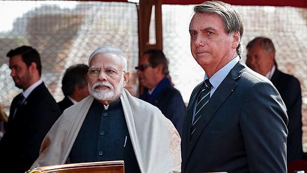 Modi e Bolsonaro usaram as redes sociais para comemorar os acordos firmados na Índia