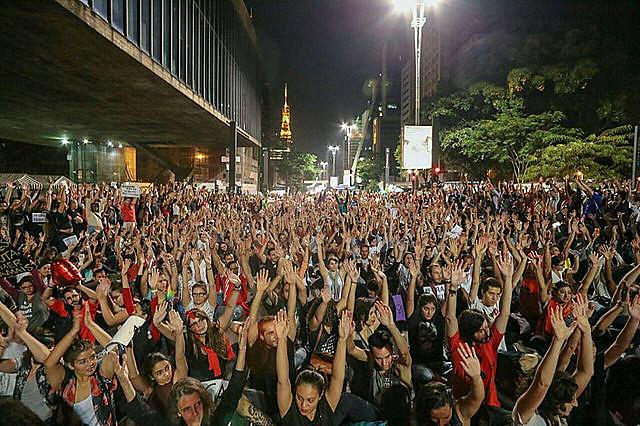 Protesta contra el presidente interino Michel Temer, en São Paulo