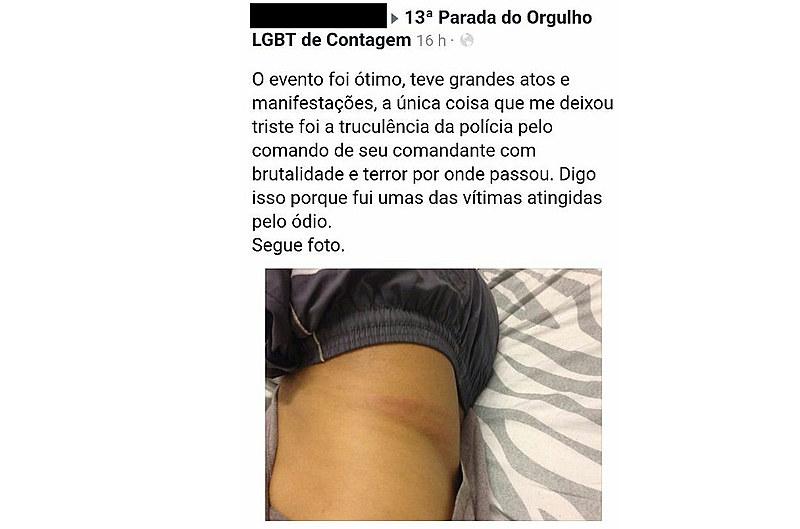 Depoimento postado no Facebook de um participante da Parada