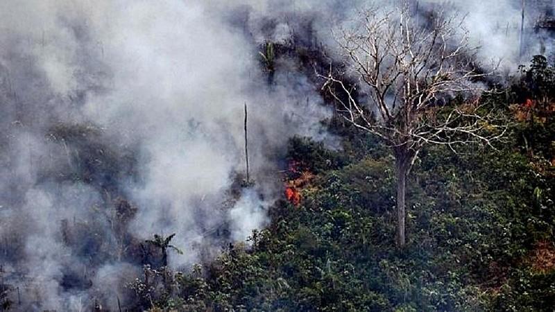 Incêndio na floresta amazônica, a 65 km de Porto Velho, em Rondônia, no norte do Brasil.