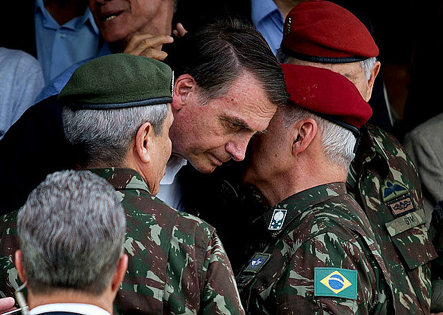 Far-right president Jair Bolsonaro during an army event
