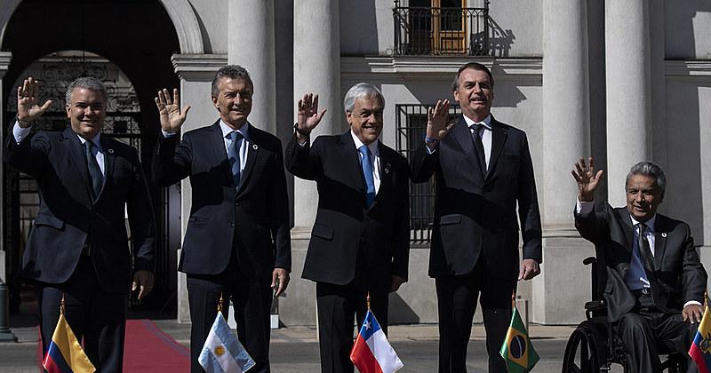 Os presidentes Iván Duque (Colômbia), Mauricio Macri (Argentina), Sebastian Piñera (Chile), Jair Bolsonaro (Brasil) e Lenin Moreno (Equador)