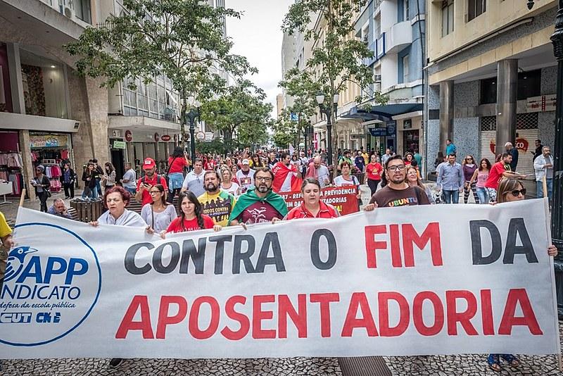 Ato contra a reforma da Previdência em Curitiba, em 2018