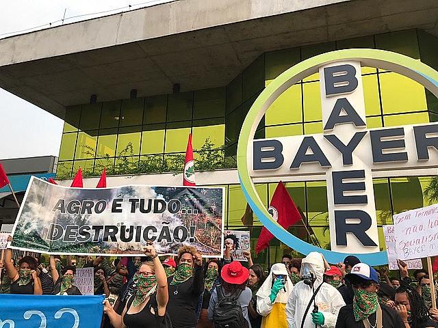 MST Women's protest outside German transnational company's headquarters in São Paulo, Brazil