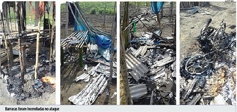 Barracas e pertences dos acampados foram incendiados.