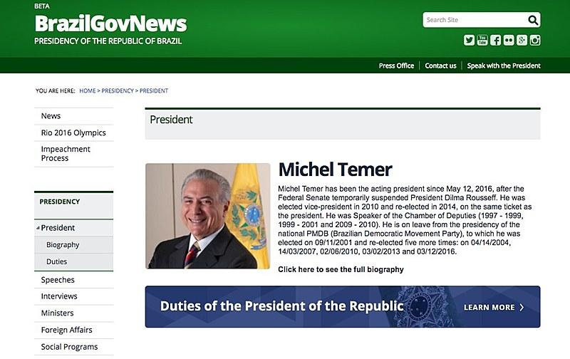 No portal em português, há áreas tanto para Temer quanto para a presidente afastada, com biografias, vídeos, entrevistas, discursos, agendas e notas oficiais