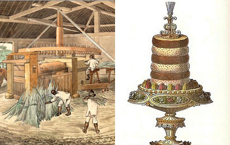 """Sobremesa criada por Marie Antoine Carême (1784-1833) e tela de Hercule Florence """"Moenda de açúcar movida por bois"""", de 1840."""