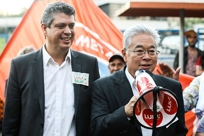 Márcio Macêdo, vice presidente do PT Nacional e  Paulo Okamotto na Vigília Lula Livre
