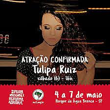 Cantora Tulipa Ruiz se apresenta no sábado (6) às 16h; entrada é gratuita
