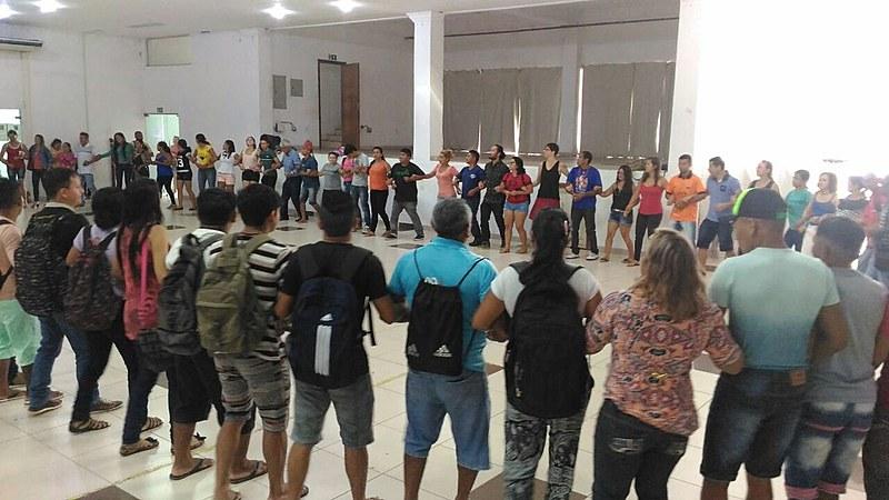 Indígenas Munduruku e Apiaká no lançamento do protocolo de consulta em Santarém (PA)