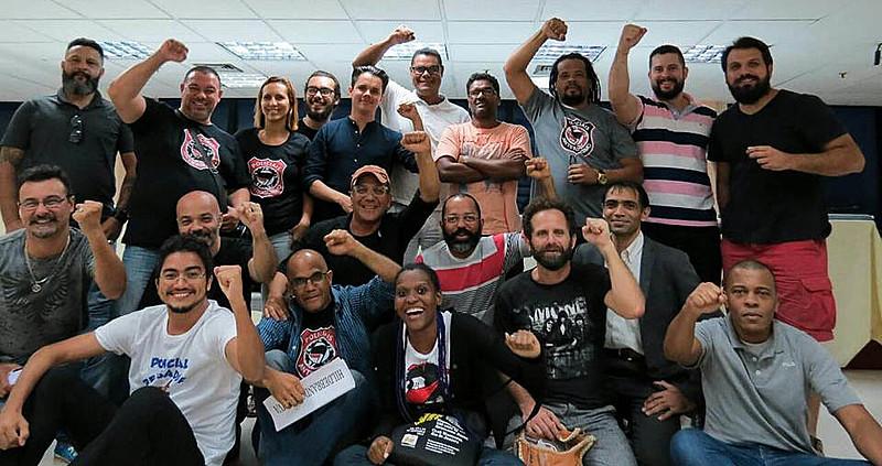 Participantes do seminário organizado pelos Policiais Antifascismo, no Rio de Janeiro