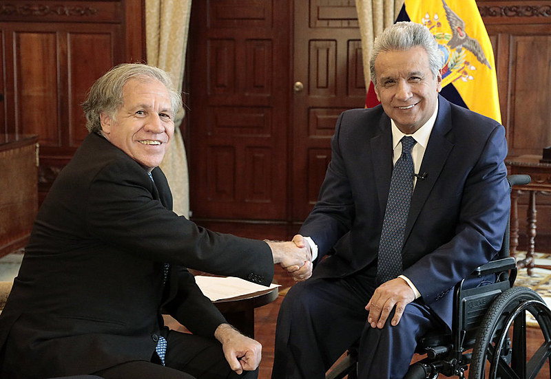 O presidente do Equador, Lenín Moreno, se reúne com o Secretário-Geral da Organização dos Estados Americanos (OEA), Luis Almagro