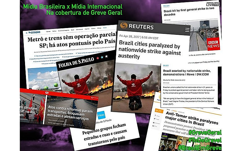 """Há boatos de que a Globo deu ordens aos seus repórteres para não usarem o termo """"greve geral"""" e focarem a cobertura nas cenas de vandalismo"""