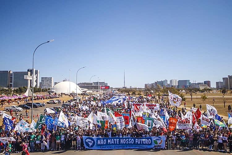 Manifestação bloqueou o trânsito na capital federal