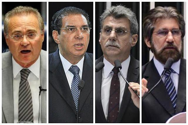 Da esquerda para a direita, os senadores Renan Calheiros, Jader Barbalho, Romero Jucá e Valdir Raupp