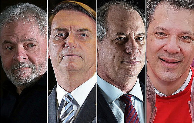 Left to right: Lula, Bolsonaro, Ciro Gomes, and Fernando Haddad. Pollster interviewed 2,000 voters