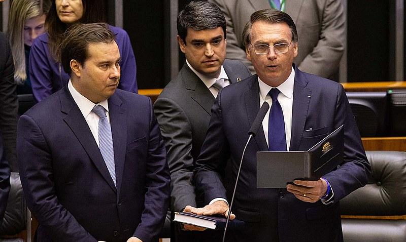 Bolsonaro at inauguration ceremony at Brazil's National Congress