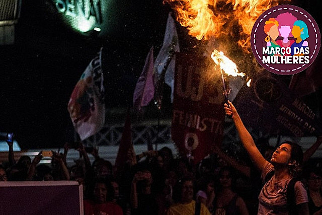 In 2018, Brazilian women's marches called for defending democracy, women's lives, and the struggle against pension reform