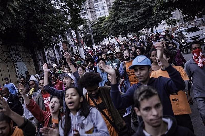 Manifestação do MTST na última sexta-feira (28), quando os militantes foram presos pela PM.