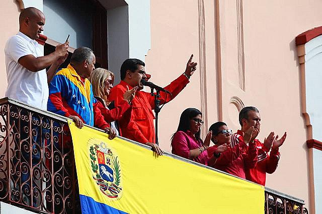 Nicolás Maduro, presidente reeleito da Venezuela, durante seu discurso no Palácio Miraflores, sede do governo