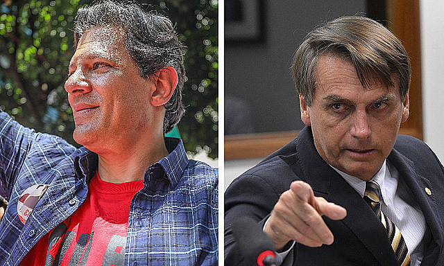 Haddad (PT) e Bolsonaro (PSL) estão tecnicamente empatados nas simulações de segundo turno