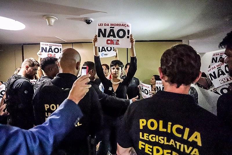 Protesto contra o projeto Escola sem Partido na Câmara dos Deputados, em 2018