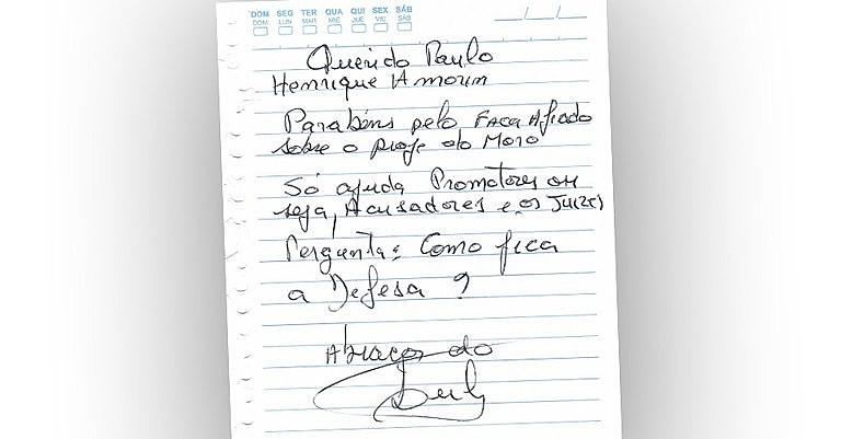 Bilhete enviado por Lula a Paulo Henrique Amorim em fevereiro deste ano