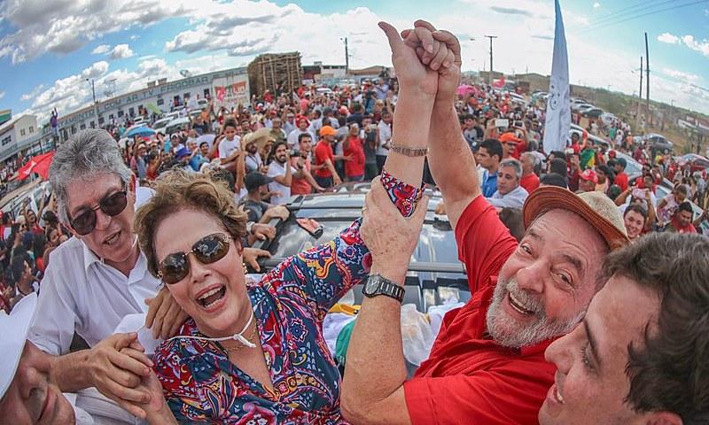 """Ex-presidentes Lula e Dilma Rousseff em viagem para Monteiro (PB) para participar da """"Inauguração Popular da Transposição do São Francisco"""""""