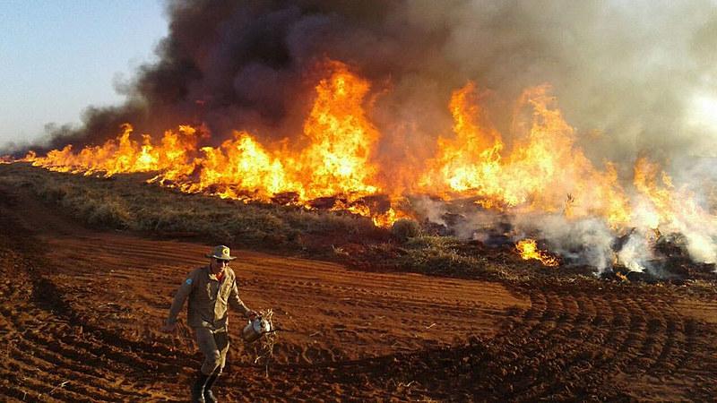 Quantidade de incêndios dobra na área de atuação do 16º Subgrupamento de Bombeiros Militar em Amambai no Mato Grosso do Sul