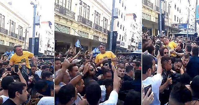Supporters filmed attack against Bolsonaro during campaign event in Juiz de Fora on Thursday