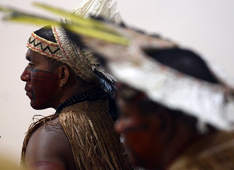 Indígenas participam de protesto, em Brasília, contra o desmatamento ilegal da floresta amazônica